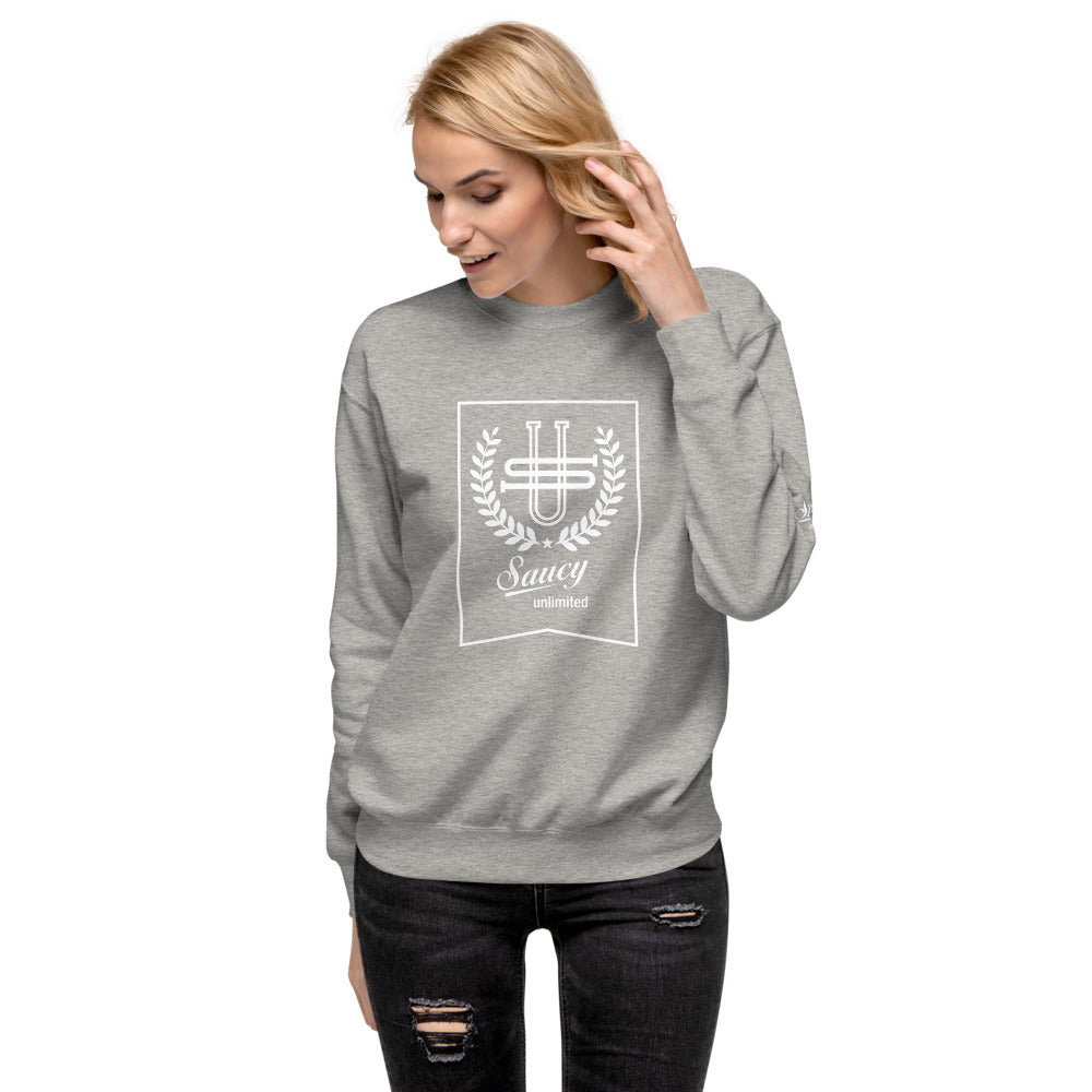 White Text Saucy Unlimited Wreath & Banner Fleece Pullover