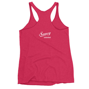 Saucy Unlimited White Stacked Logo Text  Tank