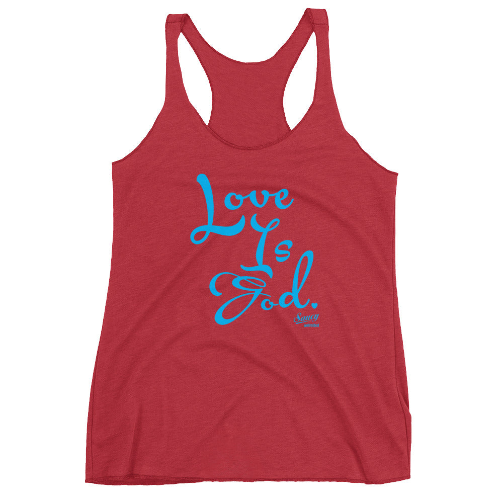 SAUCY UNLIMITED 'Love Is God' sky blue text Women's Racerback-hidden