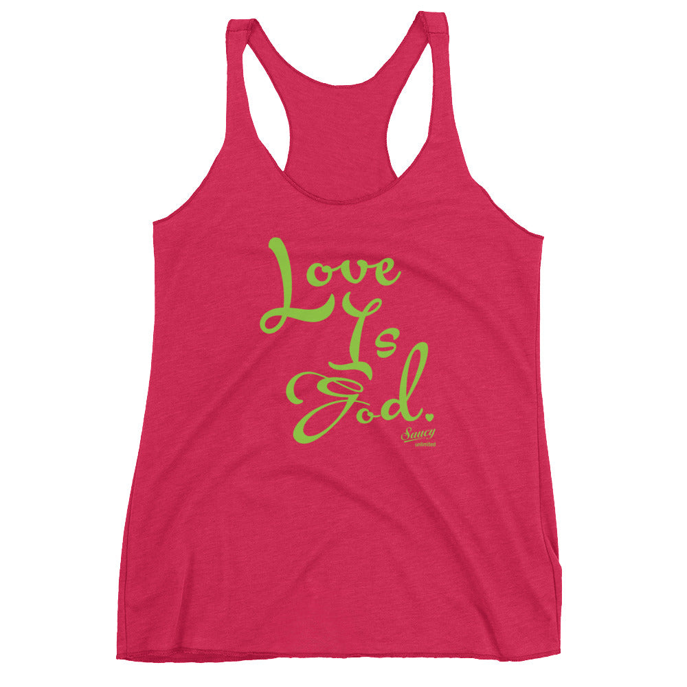 SAUCY UNLIMITED 'Love Is God' green text Women's Racerback-hidden