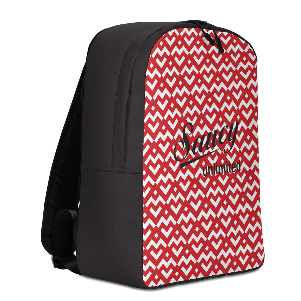 Saucy Unlimited Red 'Heart Chain' Minimalist Backpack