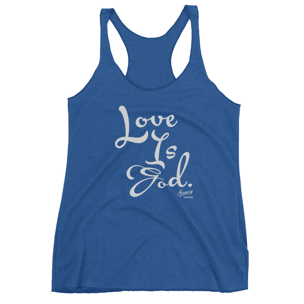 SAUCY UNLIMITED 'Love Is God' lt. gray text Women's Racerback-hidden