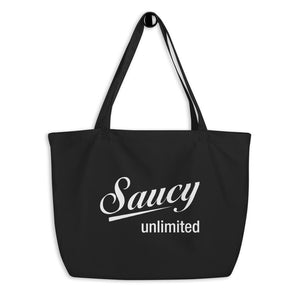 Saucy Unlimited large black Tote Bag