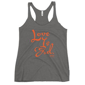 Saucy Unlimited  Gray Shirt / Orange Text Women's Racerback Tank