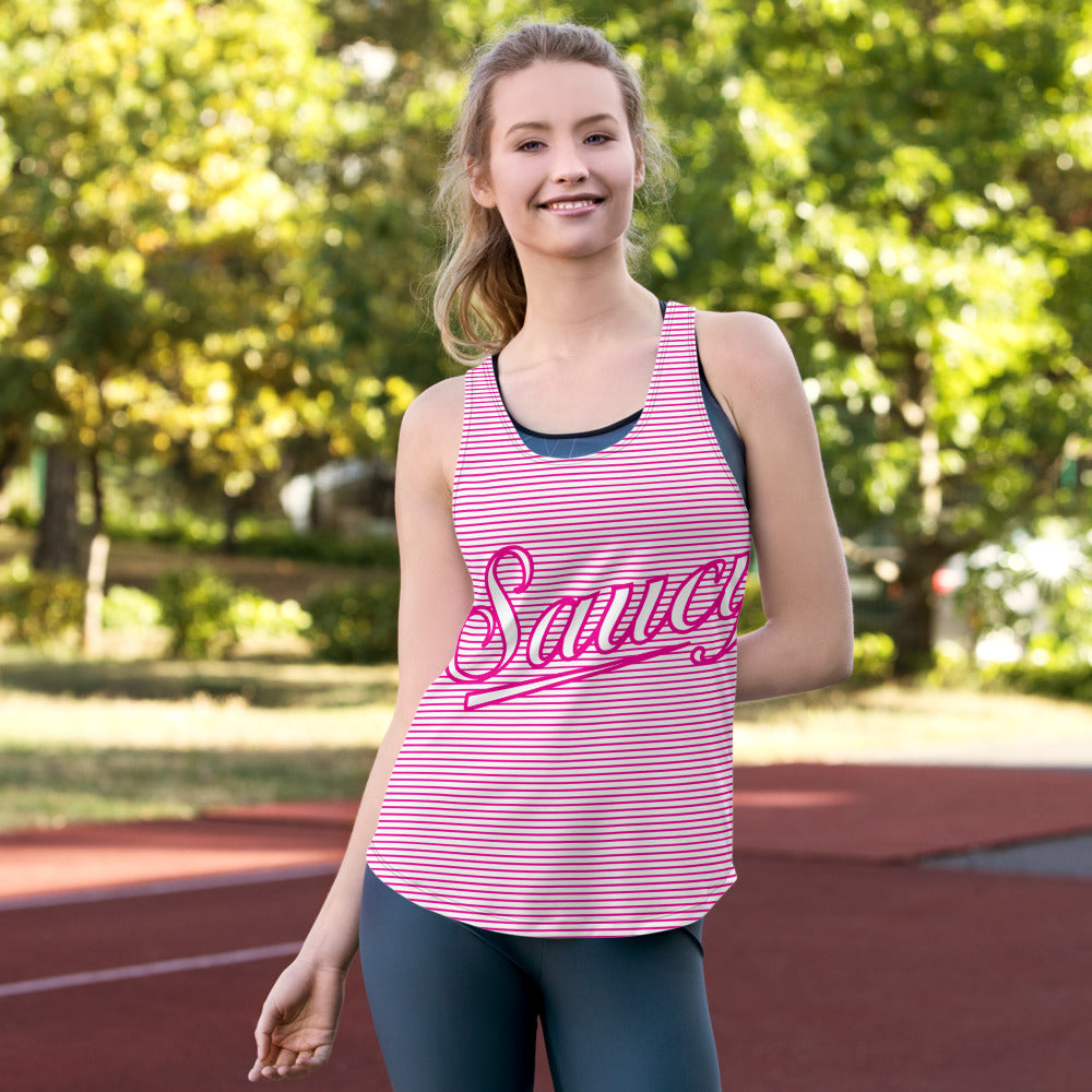 Saucy Unlimited 'SAUCY' Magenta Stripes Women's Racerback Tank