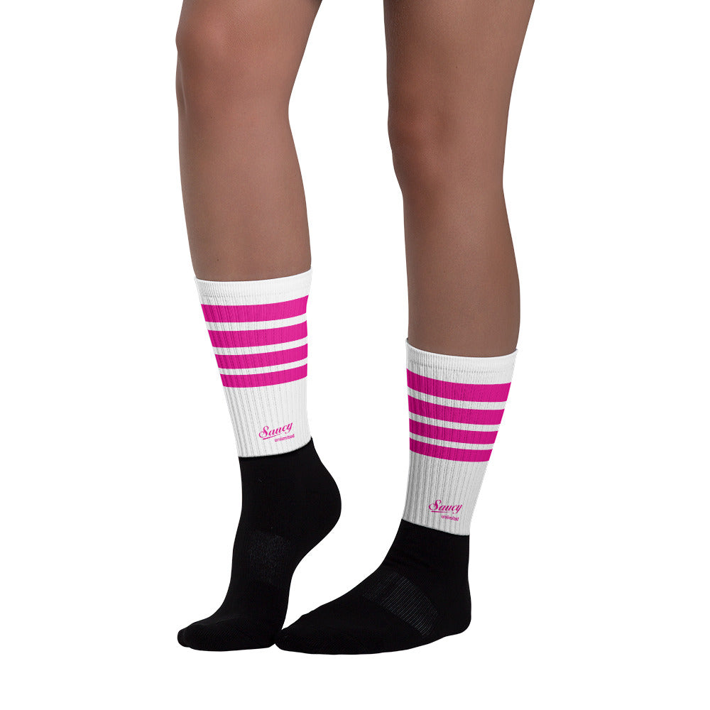 Saucy Unlimited Magenta Striped Socks