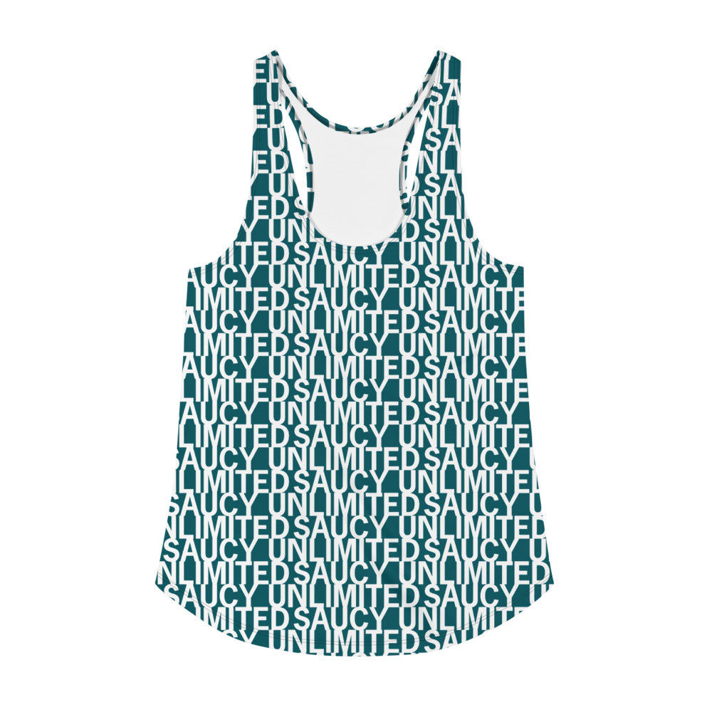 Blue-Green Saucy Unlimited Repeat 'NEW YORK PRINT' Women's Racerback-hidden
