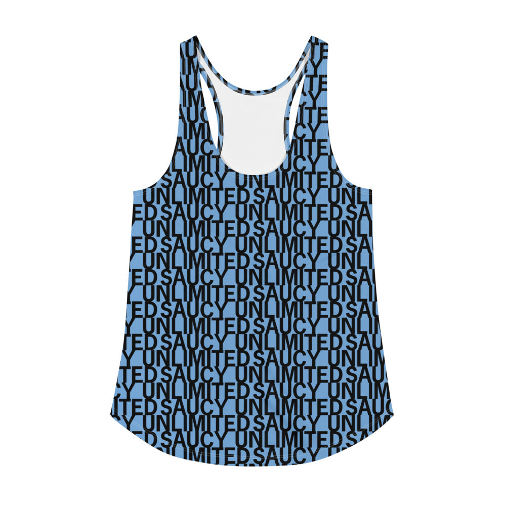 Saucy Unlimited blue 'NEW YORK PRINT' Repeat Racerback-hidden