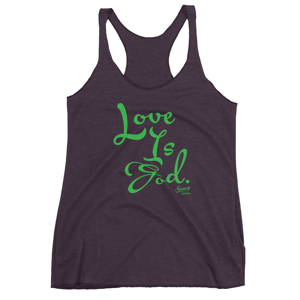 SAUCY UNLIMITED 'Love Is God' Forest Green Text Racerback-hidden