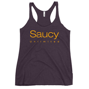 Saucy Unlimited Gold Two Line Logo Women's Racerback Tank