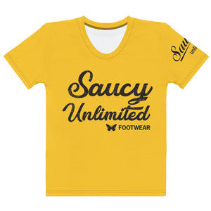 Solid Yellow Saucy Unlimited 3 line 'BUTTERFLIES' T-shirt