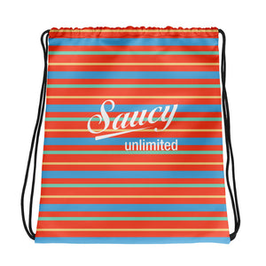 Saucy Unlimited Color Striped Drawstring bag with white logo