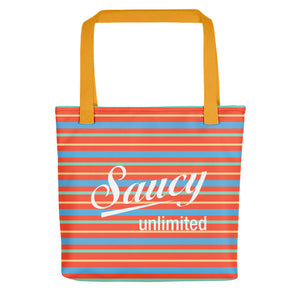 Saucy Unlimited Orange, Blue, Yellow, White Stripe Tote bag