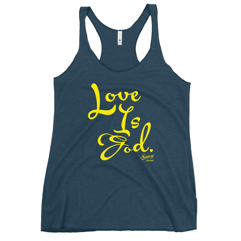 SAUCY UNLIMITED 'Love Is God' yellow text Women's Racerback Tank