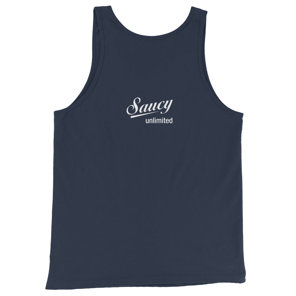 Saucy Unlimited White Two Line Logo Tank Top
