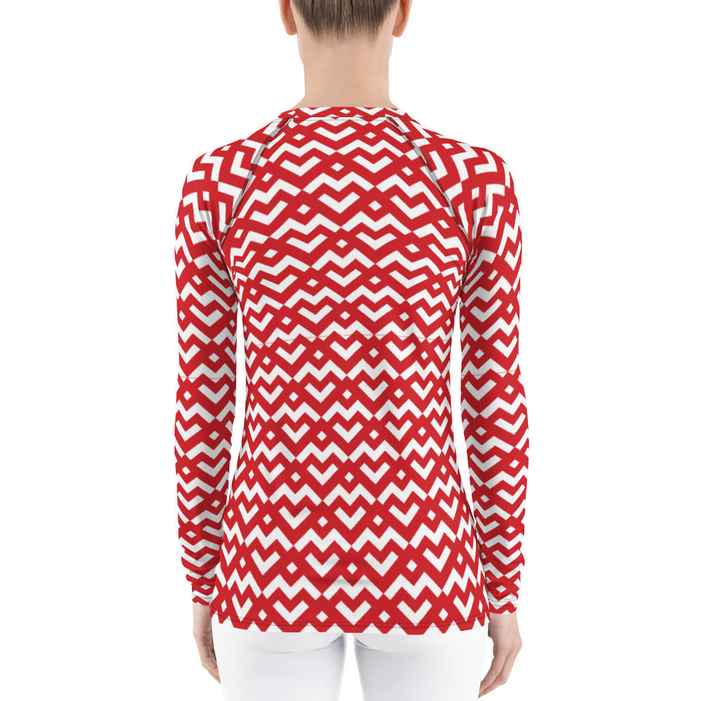 Saucy Unlimited Red Heart All-Over Long Sleeve Graphic T-shirt
