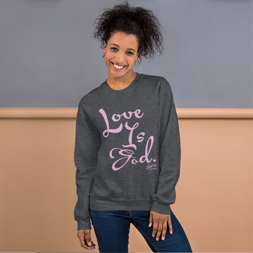 Light Pink Text on Dark Gray Saucy Unlimited Sweatshirt