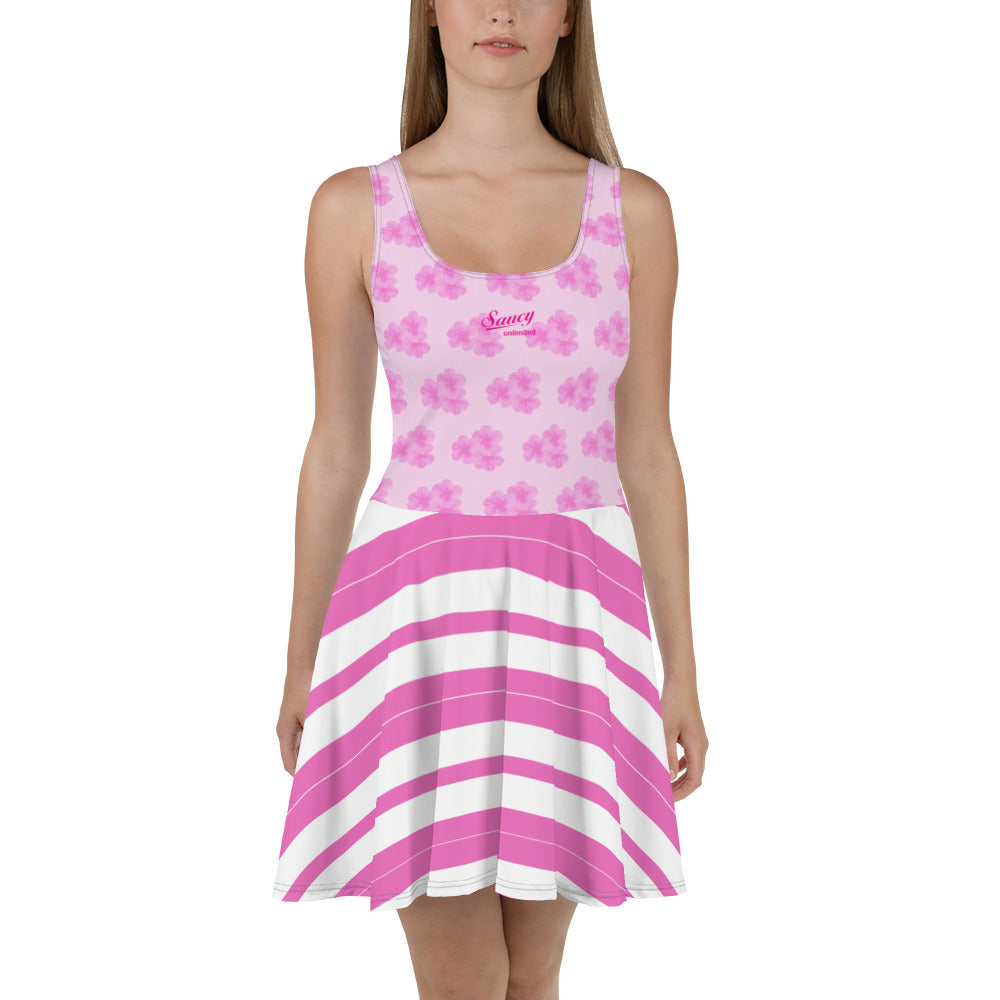 Saucy Unlimited PINK FLOWERS Skater Dress