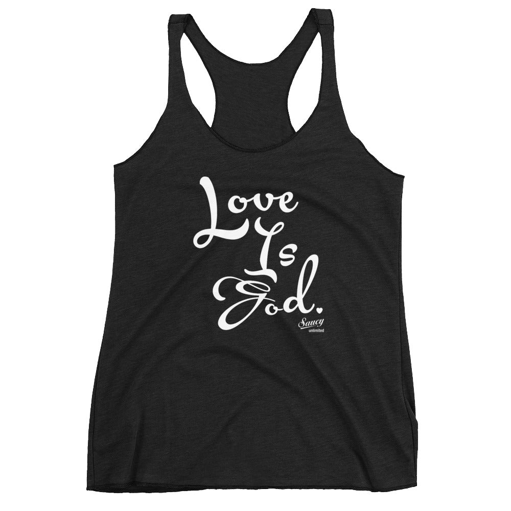 SAUCY UNLIMITED 'Love Is God' white text Racerback-hidden