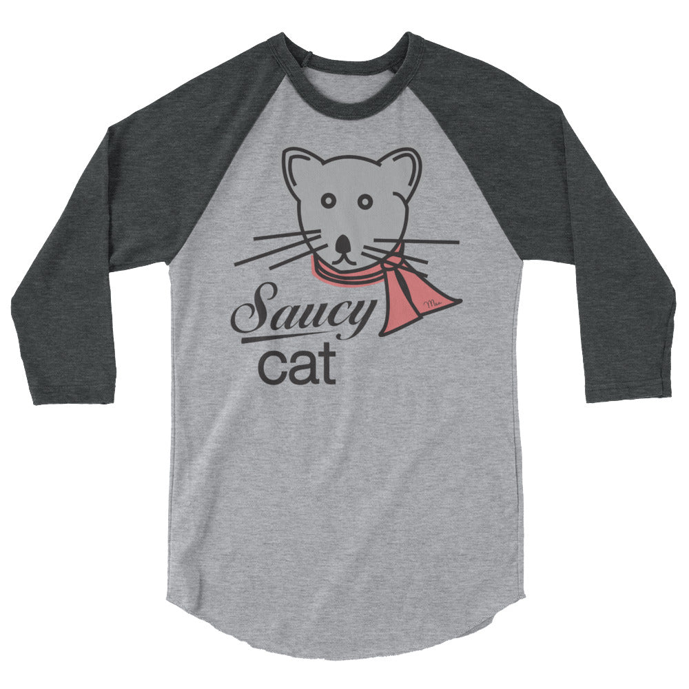 Saucy Cat by Saucy Unlimited 3/4 sleeve raglan shirt