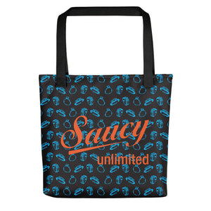 Saucy Unlimited blue rings / orange highlights Tote bag