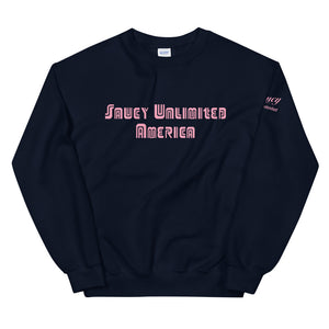 Pink Text Saucy Unlimited America Sweatshirt