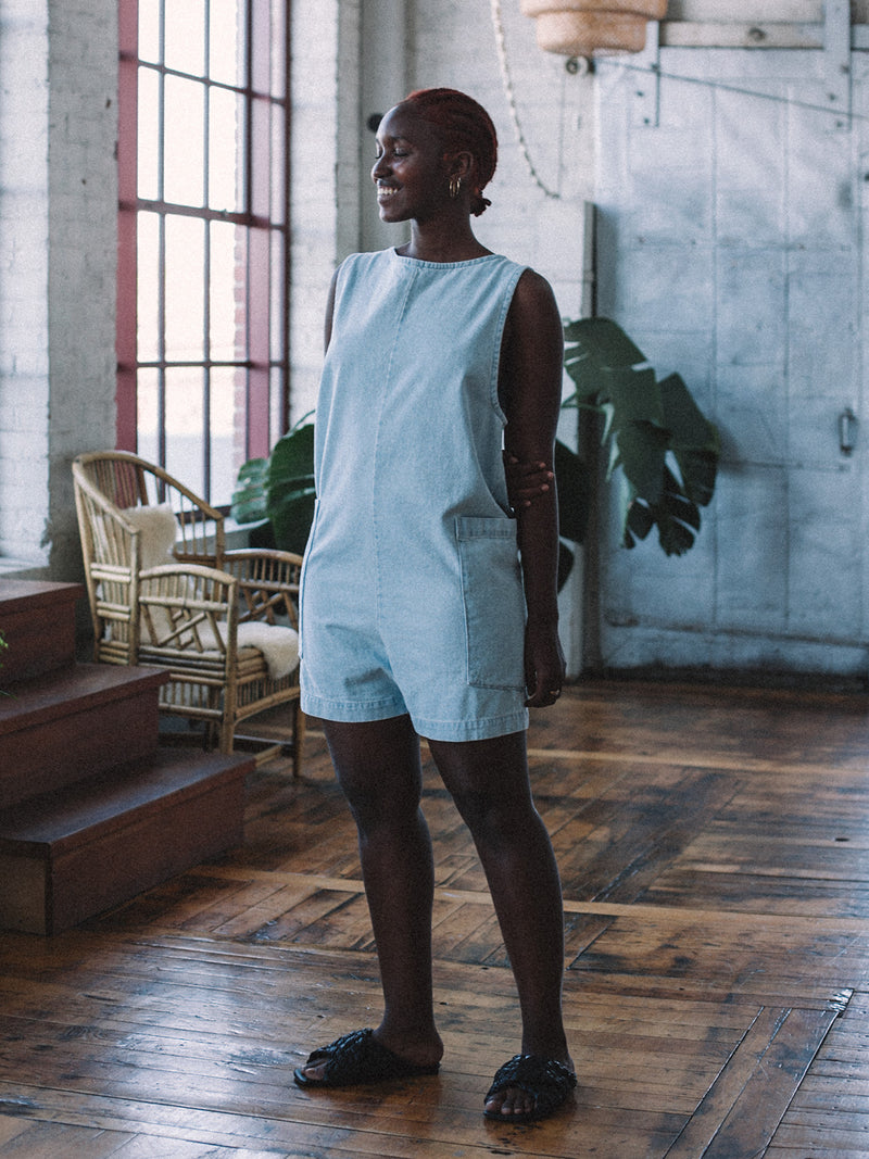 Ardis Romper - Light Blue Stonewash