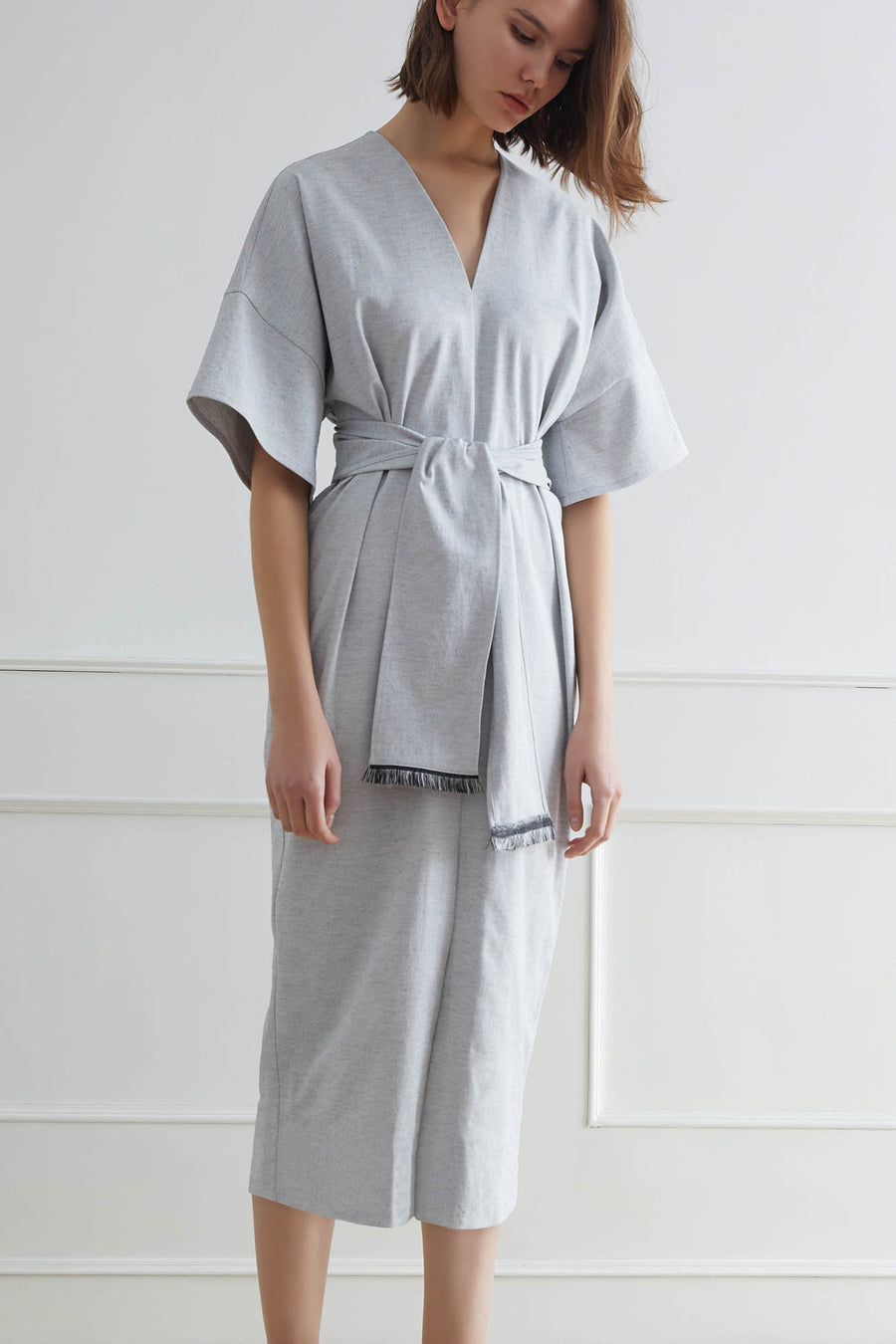 IWAKI Midi Dress with Sash Belt