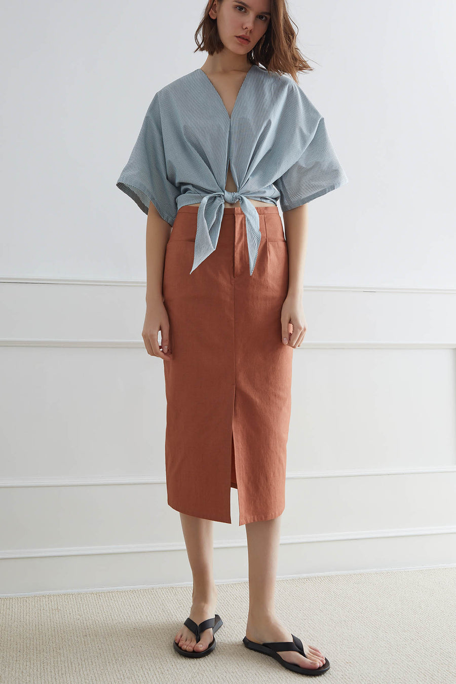 MIRAMAR Midi Cotton-Linen Skirt
