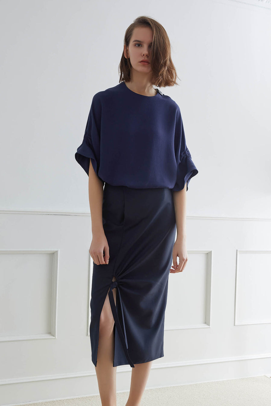 LUND Top with Ruched Sleeves