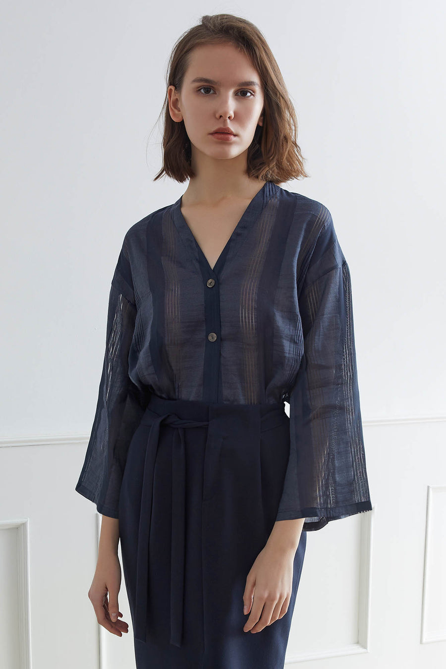 KURUME Tie-front Blouse with Diaphanous Stripes