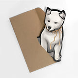 Gold Ribbon Red Shiba Puppy Die-cut Card