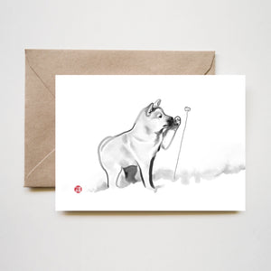 Shiba Puppy and Flower Greeting Card