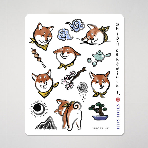 Shiba Inu Chronicle Sticker Weatherproof Sheet | Red