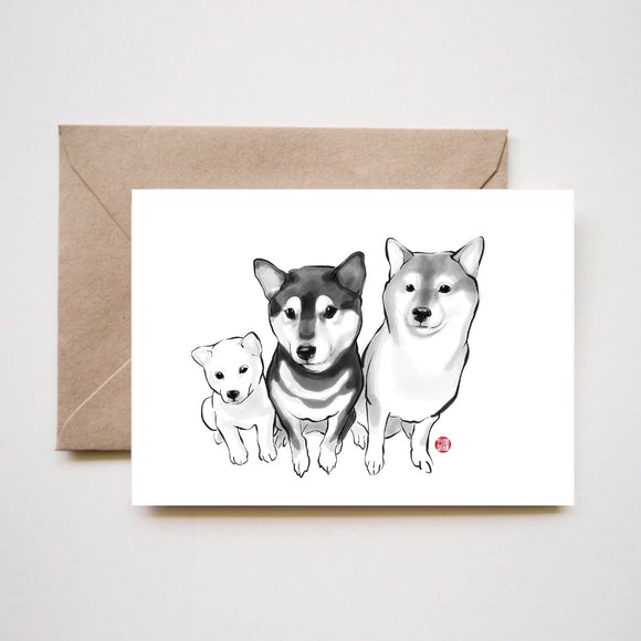 Three Little Shiba Inu Greeting Card