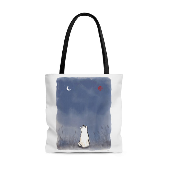 Sun and Moon Shiba Inu AOP Tote Bag, Sumi-e Painting Print Eco Fashion