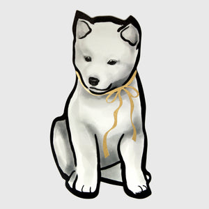 Gold Ribbon Cream Shiba Puppy Die-cut Card