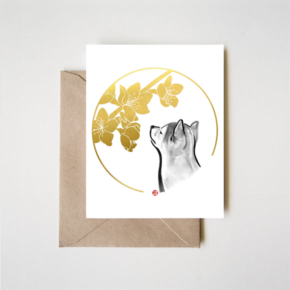Peach blossoms and a Shiba Inu puppy Greeting Card