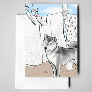 Shiba Inu, Wind Bell, Hanging Silk Greeting Card