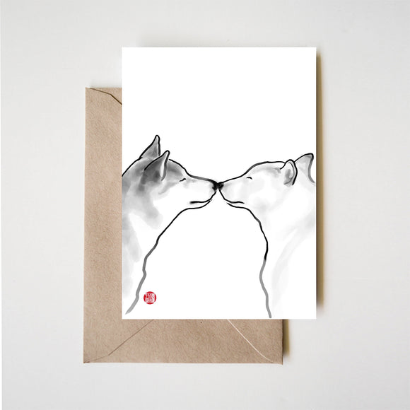 Shiba Inu Love Couple Greeting Card