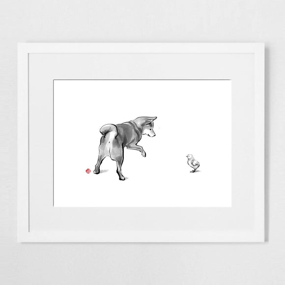 Shiba Inu and Little Chick Sumi Ink Art Print Poster