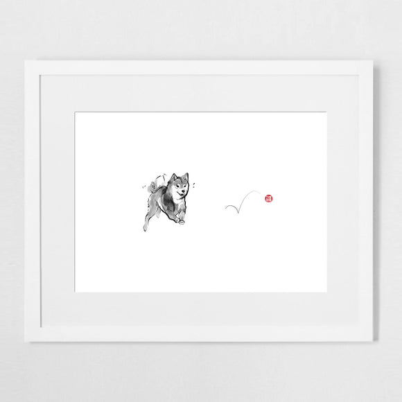 Shiba and Red Ball Sumi Ink Art Print Poster