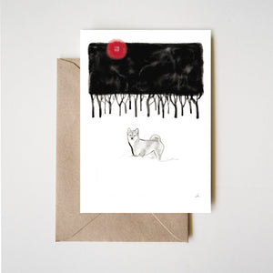 Snowy Winter Forest Shiba Inu Greeting Card