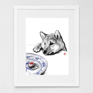 Shiba Inu Waiting for his Treat Art Print Poster