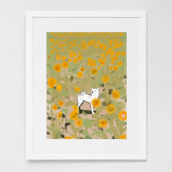 Shiba Inu in Sunflowers Art Print Poster