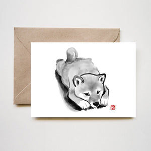 Lazy Shiba Puppy Greeting Card
