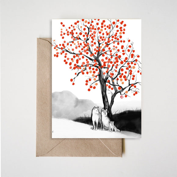 Persimmon Shiba Inu Family Greeting Card