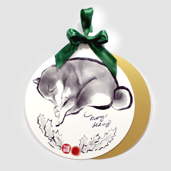 Merry Shiba Inu Holiday Ornament Card