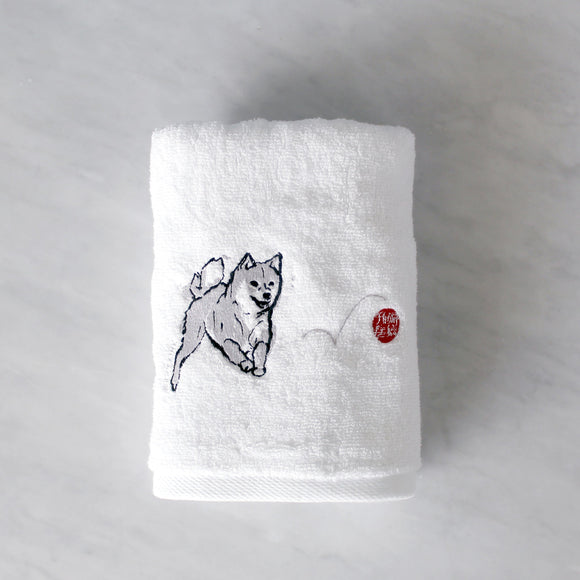 Shiba Inu with Red Ball Embroidered Hand Towel