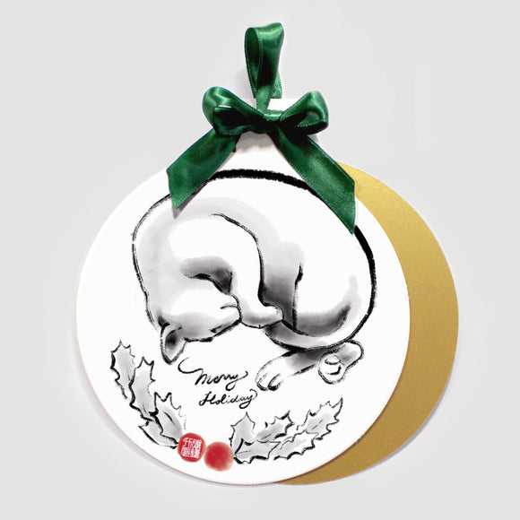 Merry Cat Holiday Ornament Card